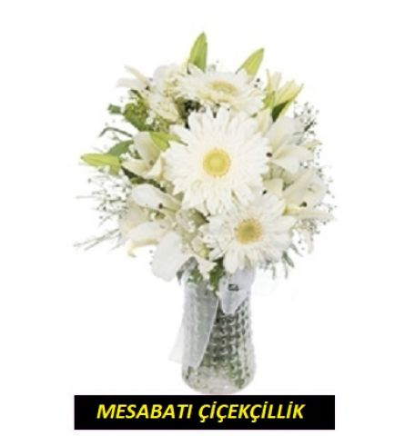 Lilyumlu Beyaz Gerbera
